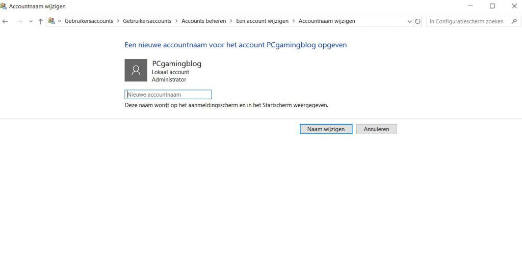 Account instelingen Windows 10
