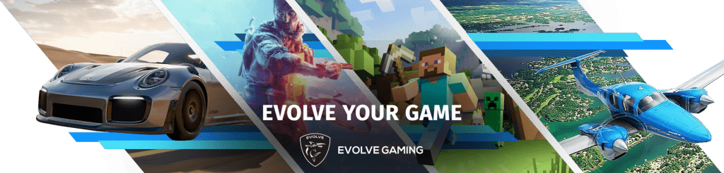 Evolve Gaming banner met afbeeldingen van game pc games